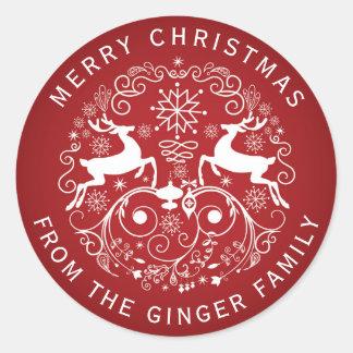 Merry Christmas Deer and Swirls Design Sticker