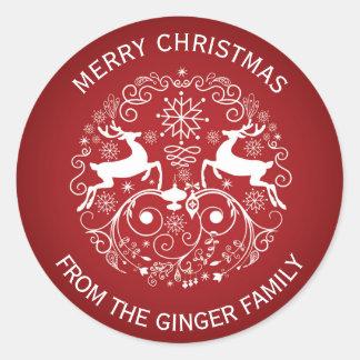 Merry Christmas Deer and Swirls Round Sticker