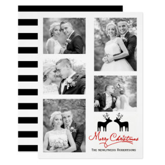Merry Christmas deer newlyweds photo collage Card