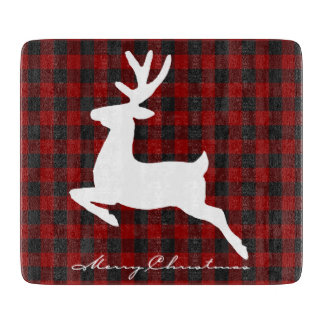 Merry Christmas deer on plaid Boards