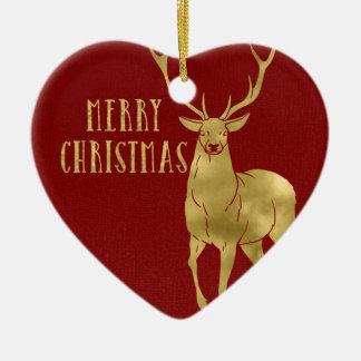 Merry Christmas Deer & Photo Ceramic Ornament