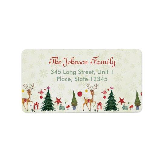 Merry Christmas Deer & Trees | Address Labels