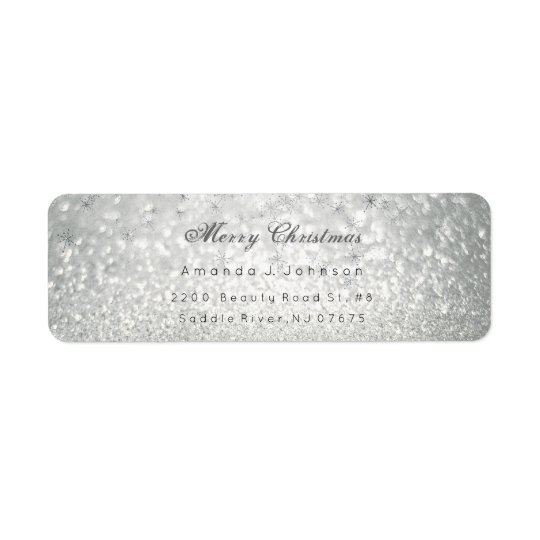 Merry Christmas Delicate Silver Stars Snow Grey Return Address Label