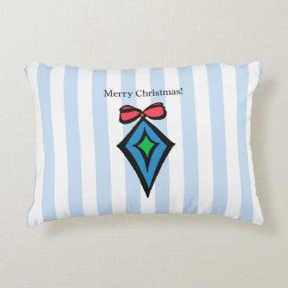 Merry Christmas Diamond Ornament Accen Pillow Blue