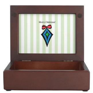 Merry Christmas Diamond Ornament Keepsake Box GRN