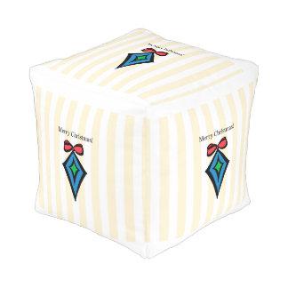 Merry Christmas Diamond Small Cubed Pouf Yello X 6