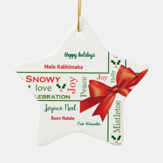 Merry Christmas different languages Ceramic Ornament
