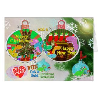Merry Christmas Dinos Cut & Fold Craft Card