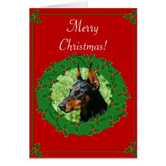 Merry Christmas Doberman greeting card