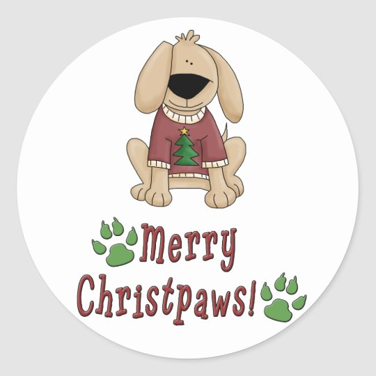 Merry Christmas Dog Classic Round Sticker