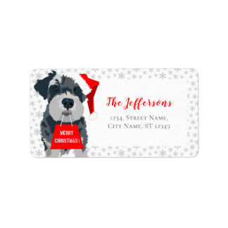 Merry Christmas Dog Santa Hat Address Labels