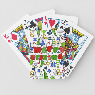 """Merry Christmas"" doodle kid's drawning style Bicycle Playing Cards"