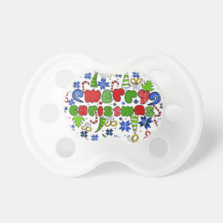 """""""Merry Christmas"""" doodle kid's drawning style Pacifier"""