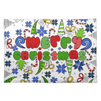 """""""Merry Christmas"""" doodle kid's drawning style Placemat"""