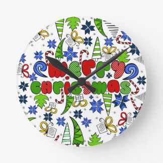 """""""Merry Christmas"""" doodle kid's drawning style Round Clock"""
