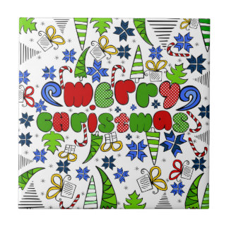 """""""Merry Christmas"""" doodle kid's drawning style Tile"""