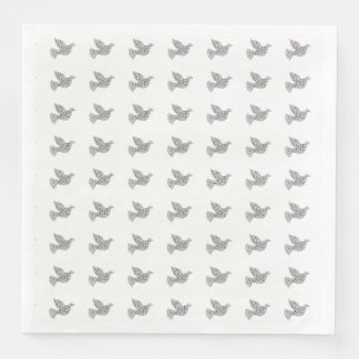 Merry Christmas Dove Typography Black White Disposable Napkins