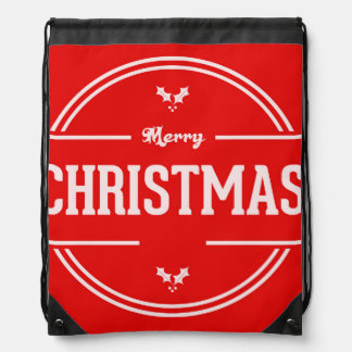 Merry Christmas Drawstring Backpack