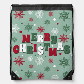 Merry Christmas Drawstring Bag