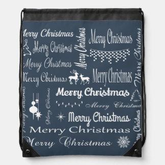 Merry Christmas Drawstring Bags