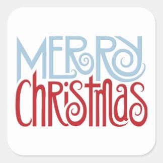 Merry Christmas dusk blue Square Sticker
