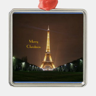 Merry Christmas - Eiffel Tower at night Silver-Colored Square Ornament