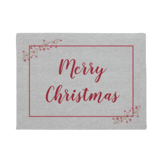 Merry Christmas, elegant burgundy gray Doormat