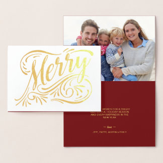Merry Christmas Elegant Handwritten Gold Foil Foil Card