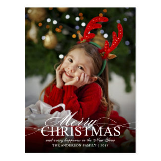 Merry Christmas Elegant Photo Holiday Event Invite Postcard