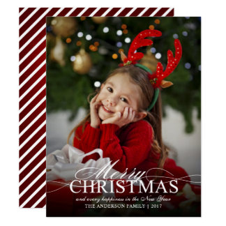 Merry Christmas Elegant Photo with Text Overlay Card