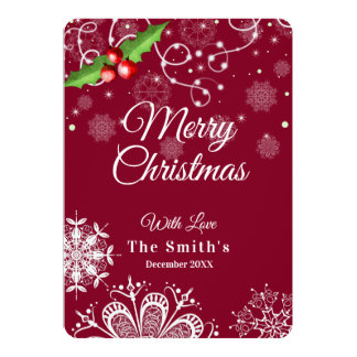 Merry Christmas elegant red- snowflake card