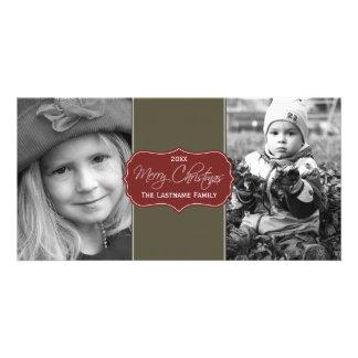 Merry Christmas - Elegant Script 2 Pictures Card