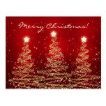 Merry Christmas Elegant Sparkling Trees Red