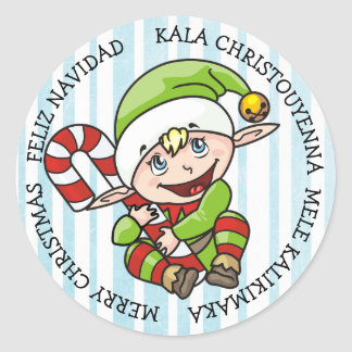 Merry Christmas Elf Different Languages Classic Round Sticker