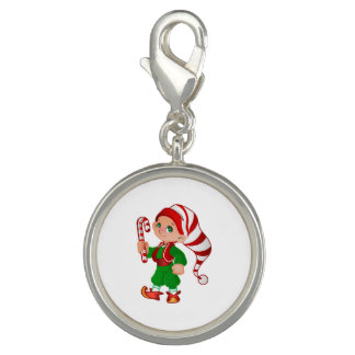 Merry Christmas Elf Silver Plate Charm
