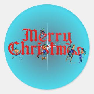 MERRY CHRISTMAS ELVES by SHARON SHARPE Round Sticker