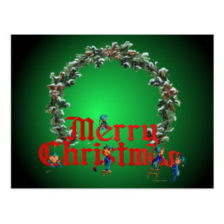 MERRY CHRISTMAS ELVES & WREATH by SHARON SHARPE Postcard