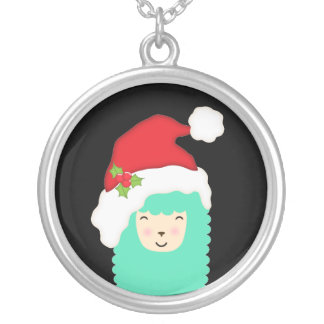 Merry Christmas Emoji Llama Necklace