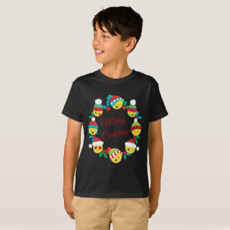 Merry Christmas Emoji Wreath T-Shirt