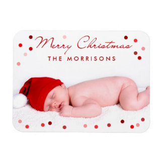 Merry Christmas Family Baby with Red Dots Rectangular Photo Magnet