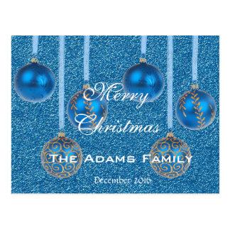 Merry Christmas Family December 2016 Bauble Blue Postcard