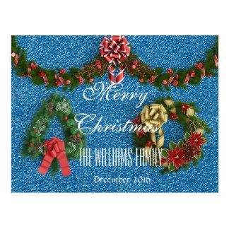 Merry Christmas Family December 2016 Wreath Blue Postcard
