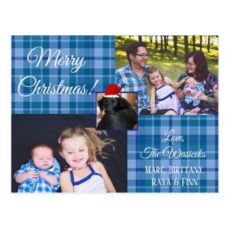 Merry Christmas Family Photo Blue Plaid Postcard