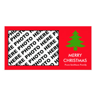 Merry Christmas Family Photo Card Tree Red