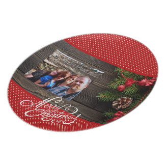 Merry Christmas Family Photo Plate Rustic Wreath