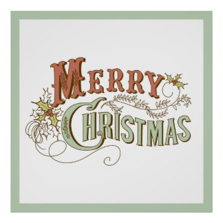 Merry Christmas Fancy Text Design Poster