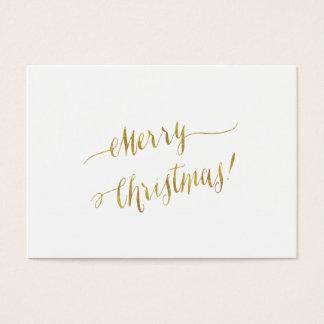 Merry Christmas Faux Gold Foil Script Lettering Business Card