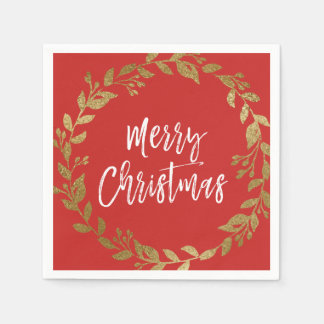 Merry Christmas Faux Gold Foil Wreath Paper Napkin