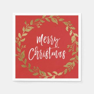 Merry Christmas Faux Gold Foil Wreath Paper Napkins