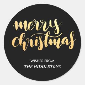 Merry Christmas Faux Gold Handwritten Script Black Classic Round Sticker